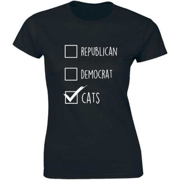 Half It Tops - Republican Democrat Cats Political Pet Tee T-shirt